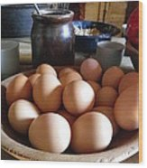 Eggs On The Table Wood Print