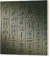Egyptian Hieroglyphics Decorate Wood Print