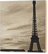 Eiffel At Sunset Wood Print