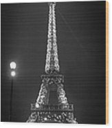 Eiffel By Night Wood Print