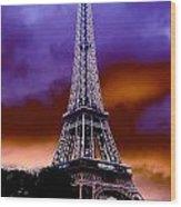 Eiffel Storm Wood Print