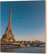 Eiffel Tower And Bridge Wood Print