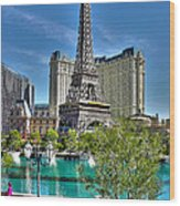 Eiffel Tower And Reflecting Pond Wood Print