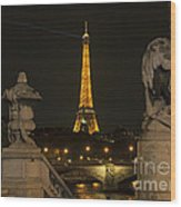 Eiffel Tower And The Seine River From Pont Alexandre At Night Wood Print