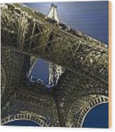 Eiffel Tower At Night,directly Below Wood Print