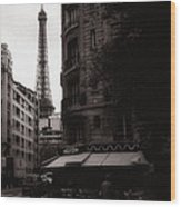 Eiffel Tower Black And White 2 Wood Print