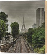 Eiffel Tower In Clouds Wood Print