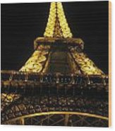 Eiffel Tower In Lights Wood Print