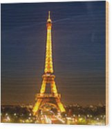 Eiffel Tower In The Night Wood Print