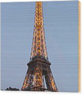 Eiffel Tower Lights Wood Print
