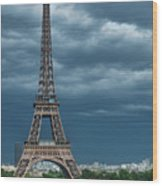 Eiffel Tower On A Stromy Weather Wood Print