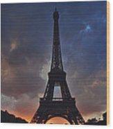 Eiffel Tower Sunset Wood Print