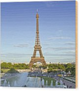 Eiffel Tower With Fontaines Wood Print