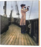 Eighteenth Century Man With Spyglass On Ship Wood Print