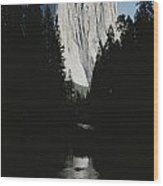 El Capitan Soars Above The Merced River Wood Print by Marc Moritsch