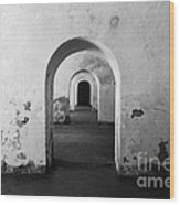 El Morro Fort Barracks Arched Doorways San Juan Puerto Rico Prints Black And White Wood Print