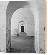 El Morro Fort Barracks Arched Doorways Vertical San Juan Puerto Rico Prints Black And White Wood Print
