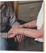 Elderly Couple Holding Hands Wood Print