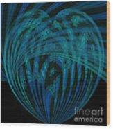 Electric Blue Heart Wood Print