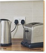 Electric Kettle And Toaster Wood Print