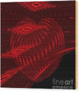 Electric Red Heart 3 Wood Print