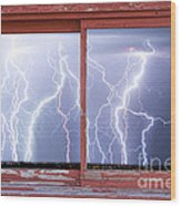 Electric Skies Red Barn Picture Window Frame Photo Art  Wood Print