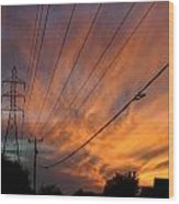 Electric Sunset Wood Print