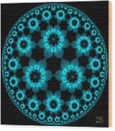 Electric Turquoise Flowers Wood Print