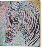 Electric Zebra Wood Print
