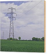 Electricity Pylons Wood Print