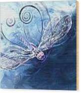 Electrified Dragonfly Wood Print