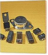 Electronic Circuit Board Components Wood Print