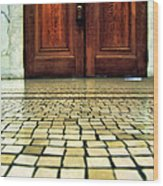 Elegant Door And Mosaic Floor Wood Print