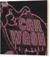 Elephant Car Wash Neon Wood Print