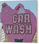Elephant Car Wash Wood Print