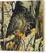 Elephant Eating Blossems Wood Print