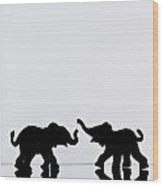 Elephant Pair Reflection Wood Print