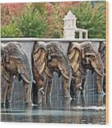 Elephants Of The Mandir Wood Print