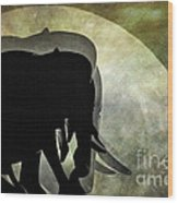 Elephants On Moonlight Walk 2 Wood Print