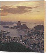 Elevated View Of Rio De Janeiro Wood Print