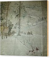 Elk Activity On A Winter Day Wood Print