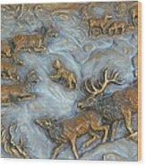 Elk And Bobcat In Winter Wood Print