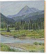 Elk Crossing Wood Print