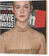 Elle Fanning At Arrivals For 16th Wood Print