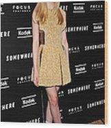 Elle Fanning Wearing A Rodarte Dress Wood Print by Everett