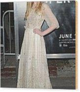 Elle Fanning Wearing A Vintage Dress Wood Print