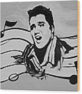 Elvis In Black And White Wood Print