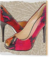 Embossed Leather Reptile Pumps  Wood Print