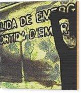 Emergency Exit - Arte Silueta Tren Wood Print