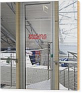 Emergency Exit At An Airport Wood Print